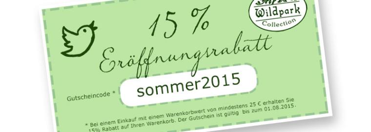 15 % Eröffnungsrabatt